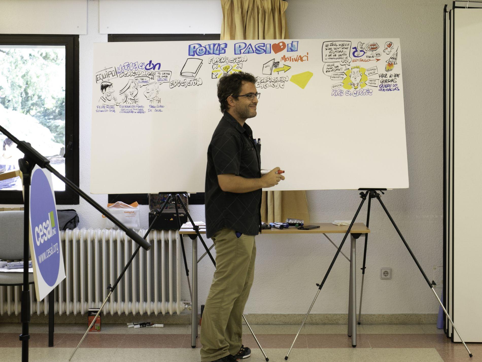 Rafael Leafar, caricaturas para eventos, realizando un visual thinking sobre `Ponle pasión`, el evento de inicio de curso de la formación no reglada de CESAL en Madrid