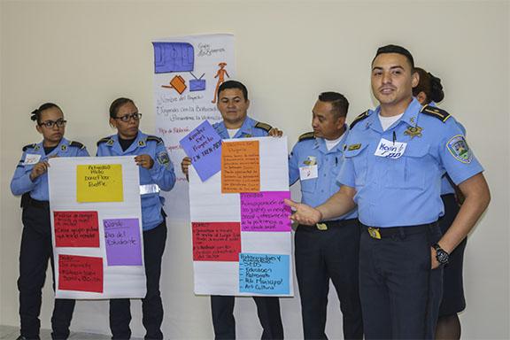 Imagen efectivos de la Policía Nacional de Honduras, participando del Foro - Taller.