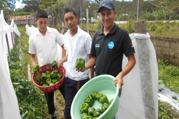 Beneficiaros mostrando producto del huerto