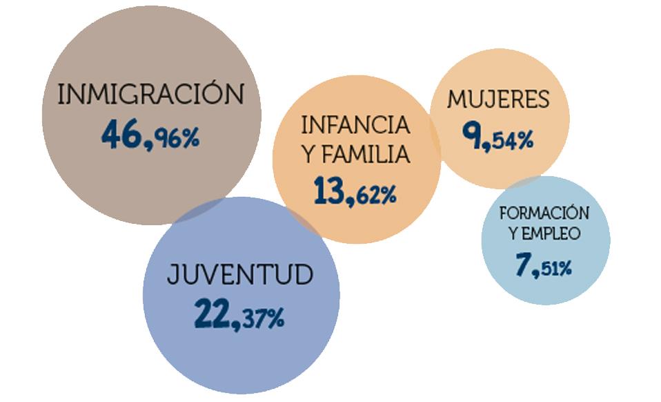 INVERSIÓN PORCENTUAL POR SECTOR DE INTERVENCIÓN EN ACCIÓN SOCIAL